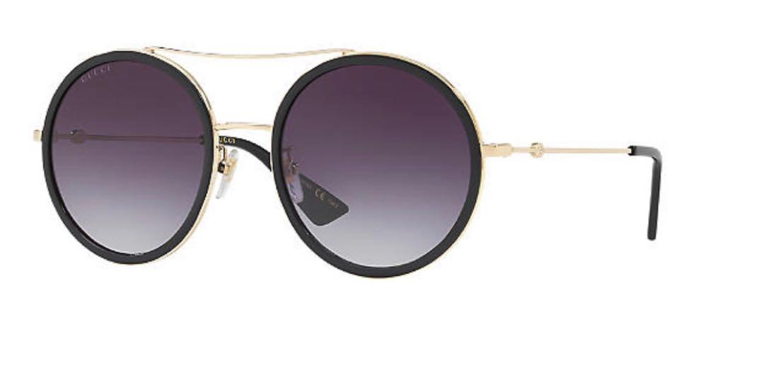 Gucci Black & Gold Double Bridge Sunglasses