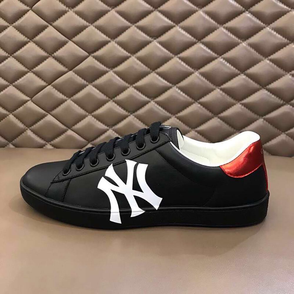Black Sneakers with NY Yankees print