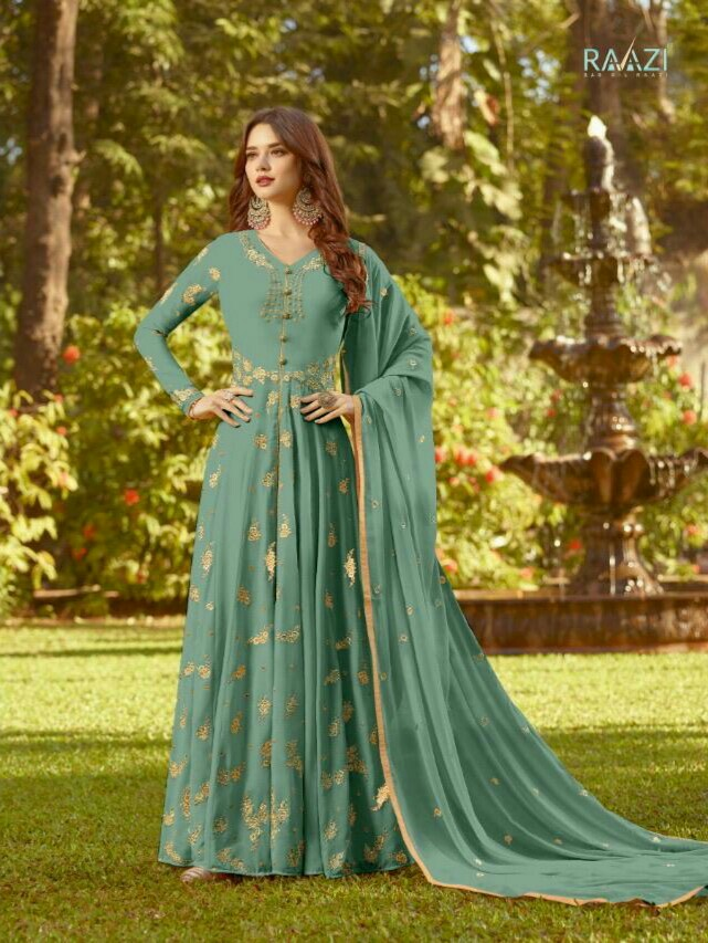 5bd5d7023 Indian semi stitched heavy faux georgette with embroidery work and diamond stone  work anarkali dress + heavy faux georgette with embroidery work dupatta