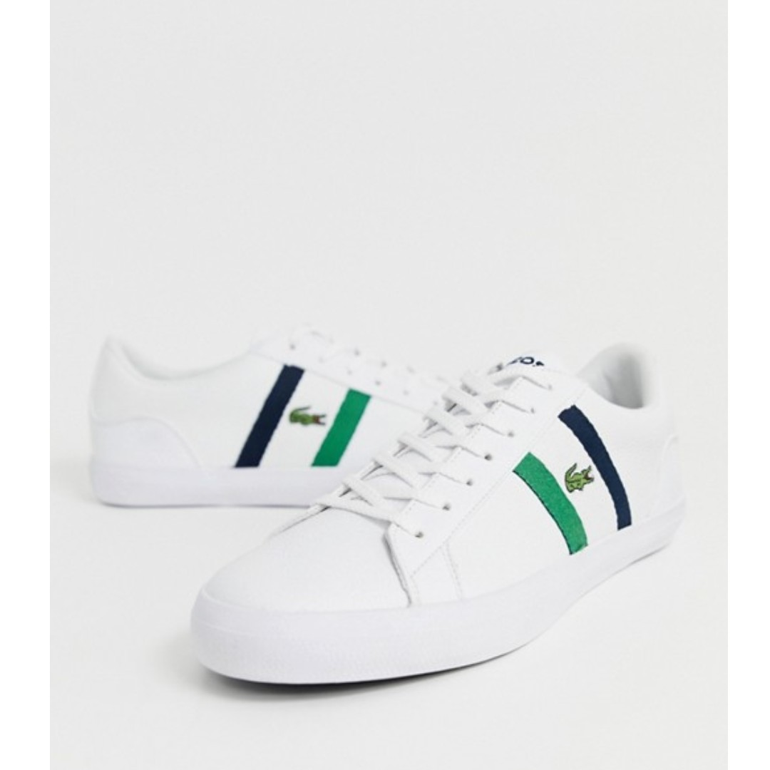 940eca4ac9 Lacoste lerond trainers with side stripe in white leather, Men's ...