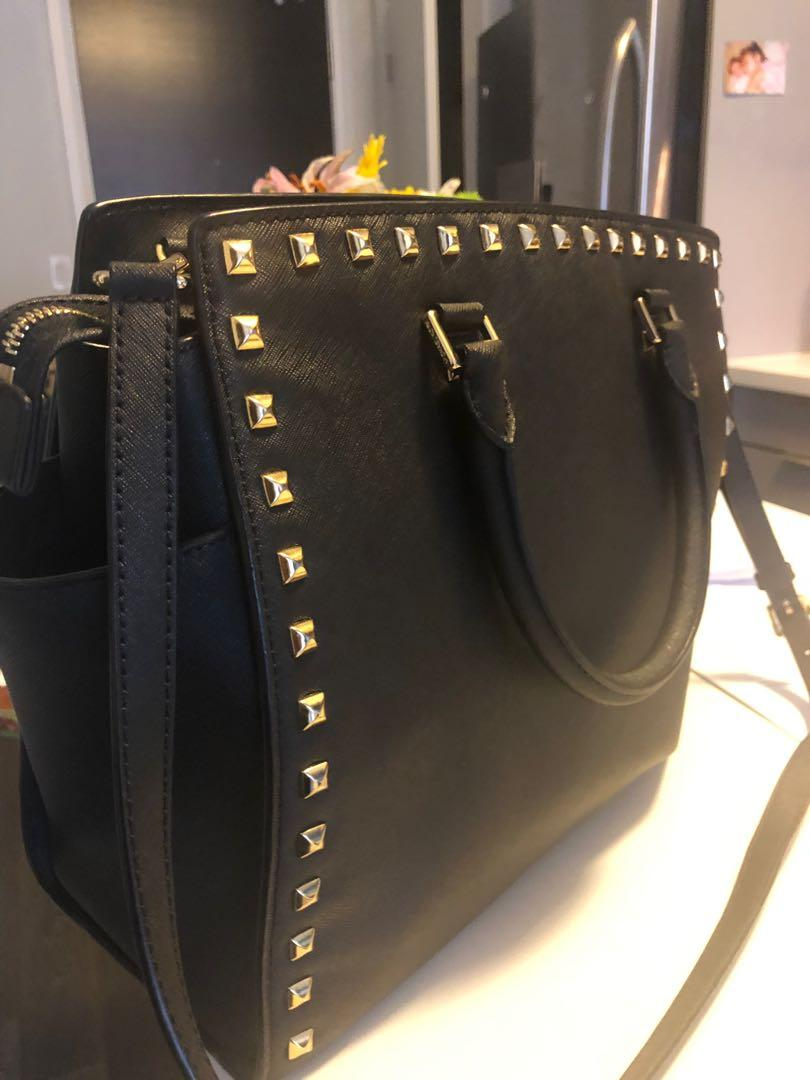 MK black tote with stud detail, great condition