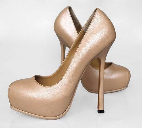 16d8add8776 Nude YSL Tribtoo Pump Platform Heel Size 38, Women's Fashion, Shoes on  Carousell