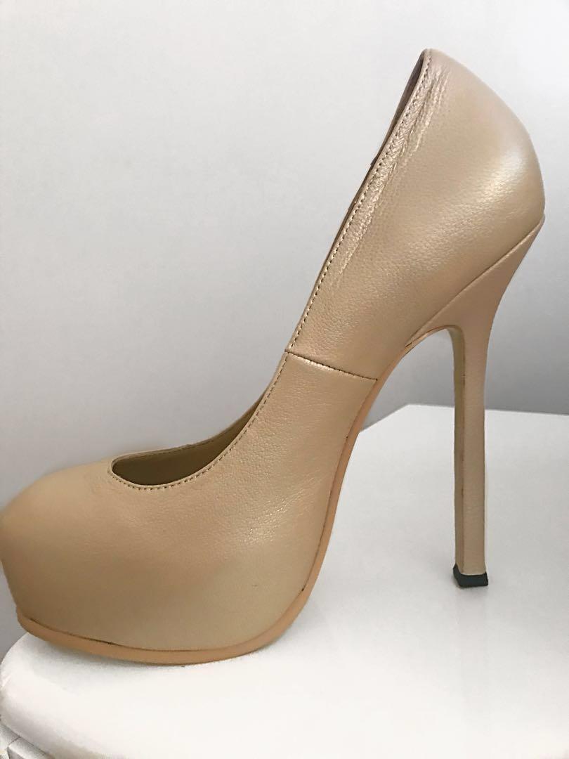659235b1e99 Nude YSL Tribtoo Pump Platform Heel Size 38, Women's Fashion, Shoes ...