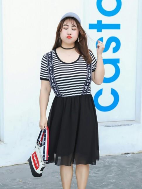[Pre-Order] Preppy Style Chiffon Loose Striped O-Neck Short Sleeve Dress