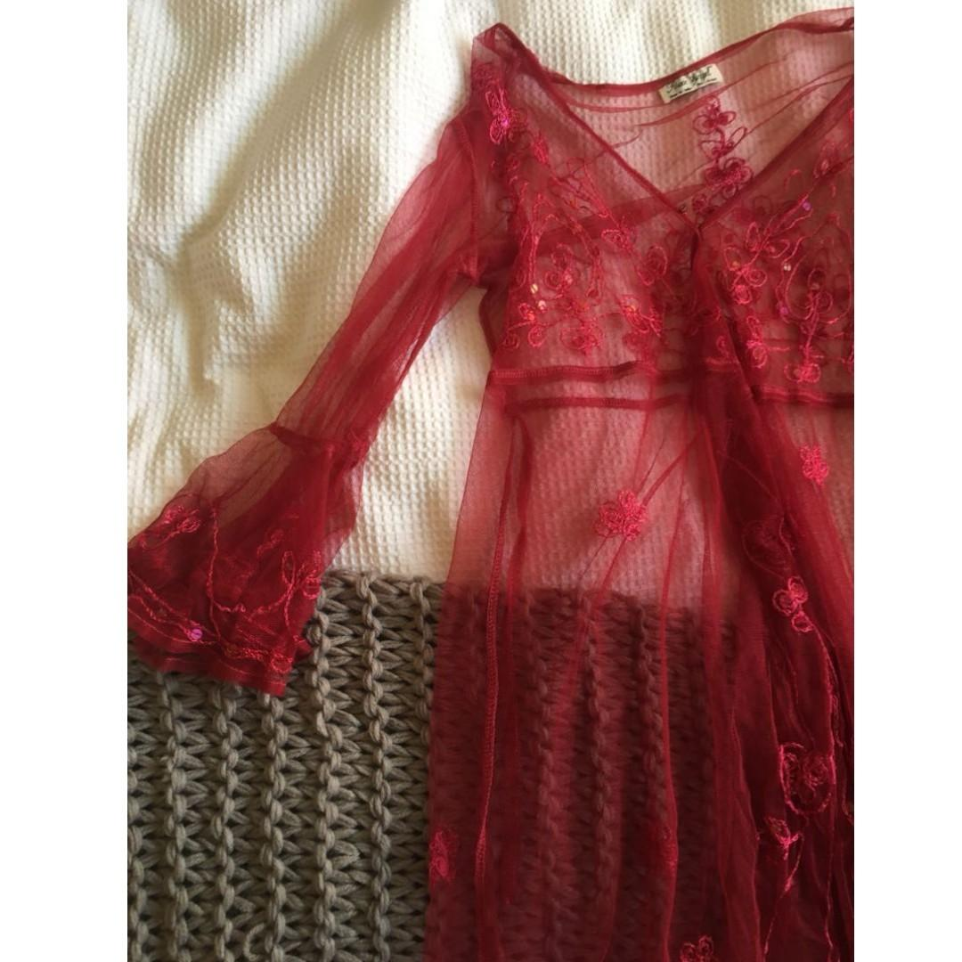 RED Lace Festival Sexy See Through Over Garment Dress