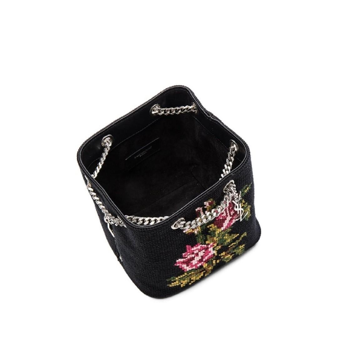 Saint Laurent YSL Embroidered Baby Bucket Chain Crossbody Bag