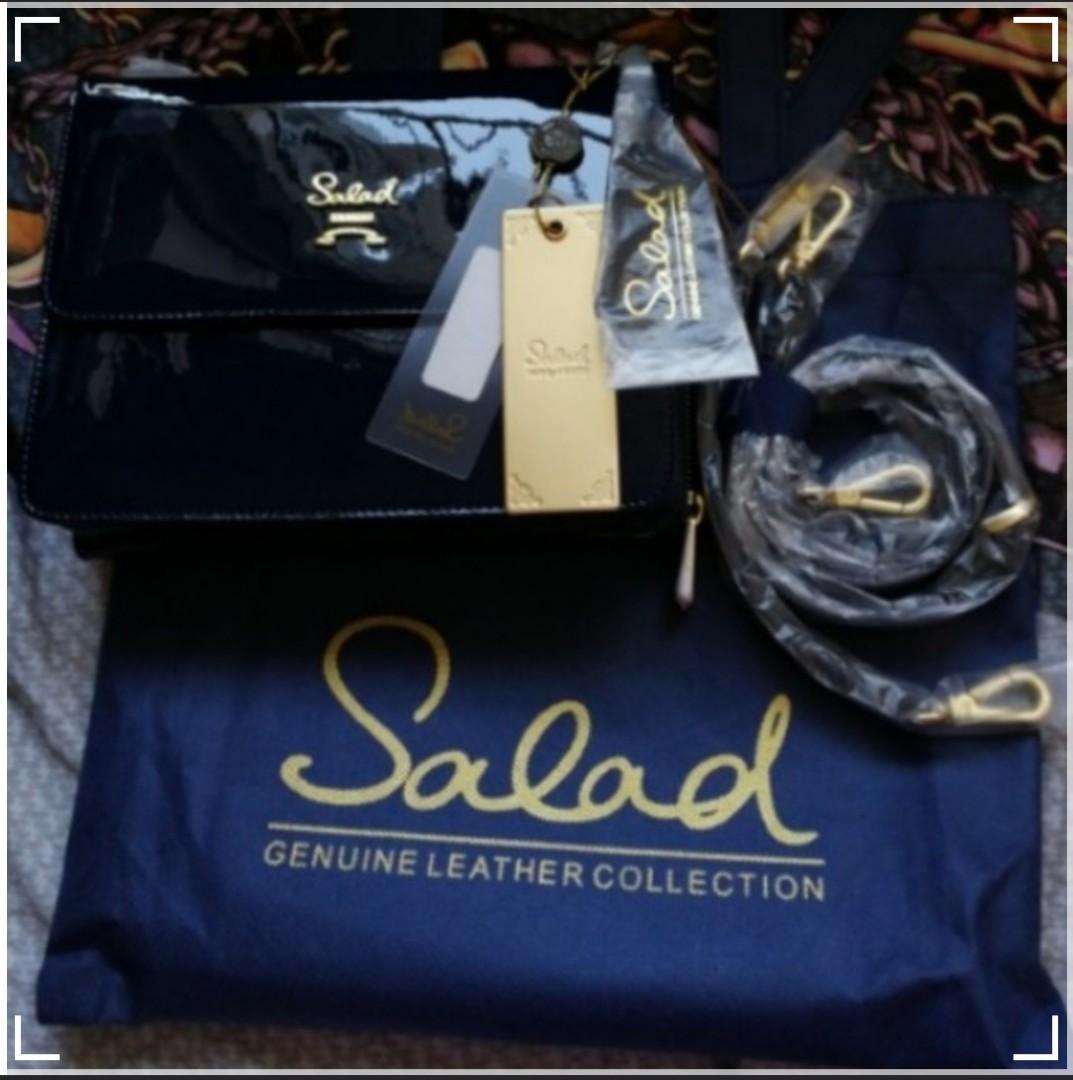 正品Salad Bag classic 深寶藍色漆皮子母袋(大size)