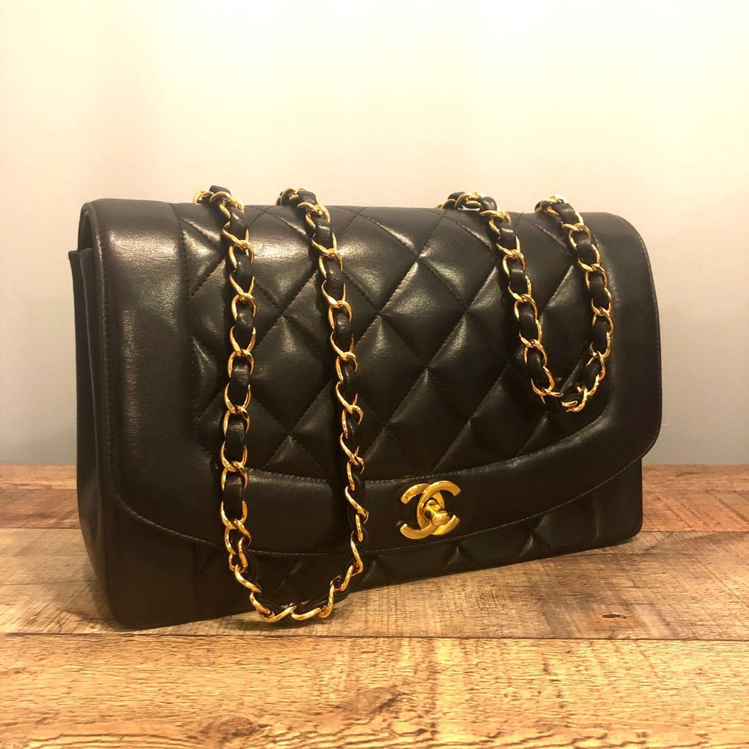 cf92e4ace5f9 SOLD Authentic Chanel 10 Inch Diana Flap Bag w 24k Gold Hardware ...