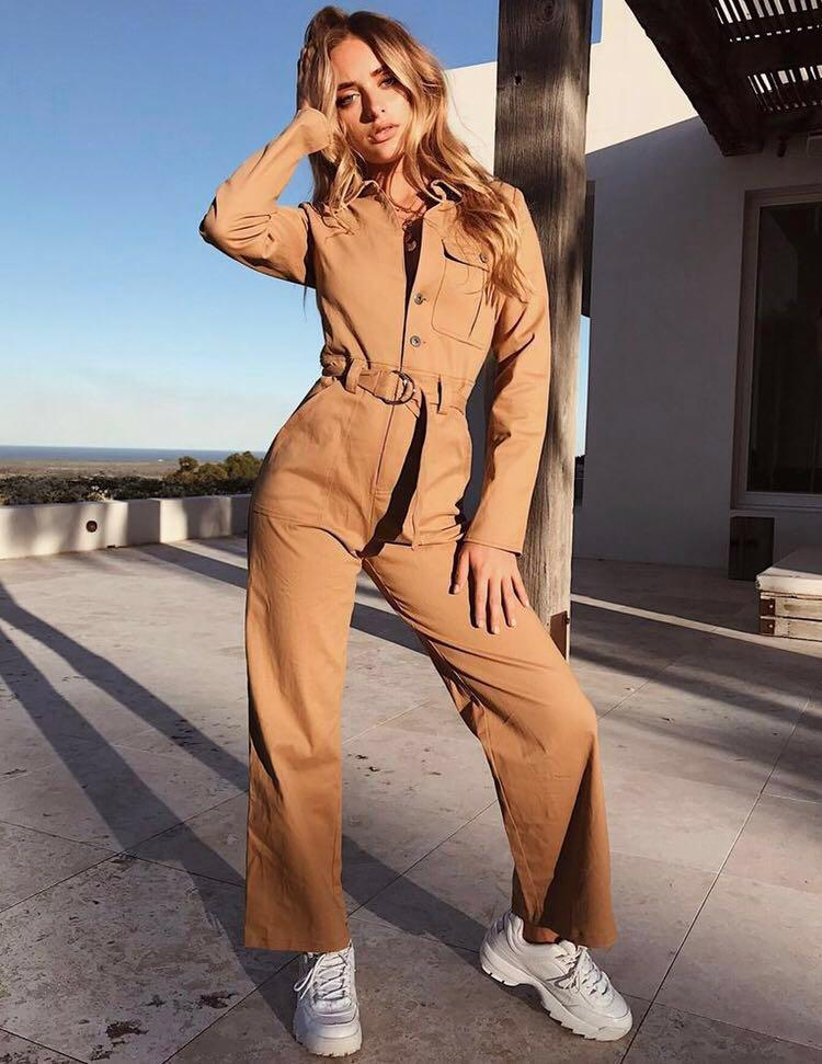 Tan Neutral Long Sleeved Jumpsuit Size Small