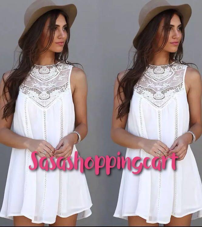 (White) Round Neck Lace Panel Chiffon Sleeveless Women Dress