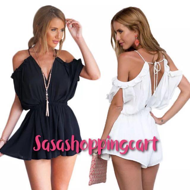 (White/Black) fashionable V-neck straps piece shorts