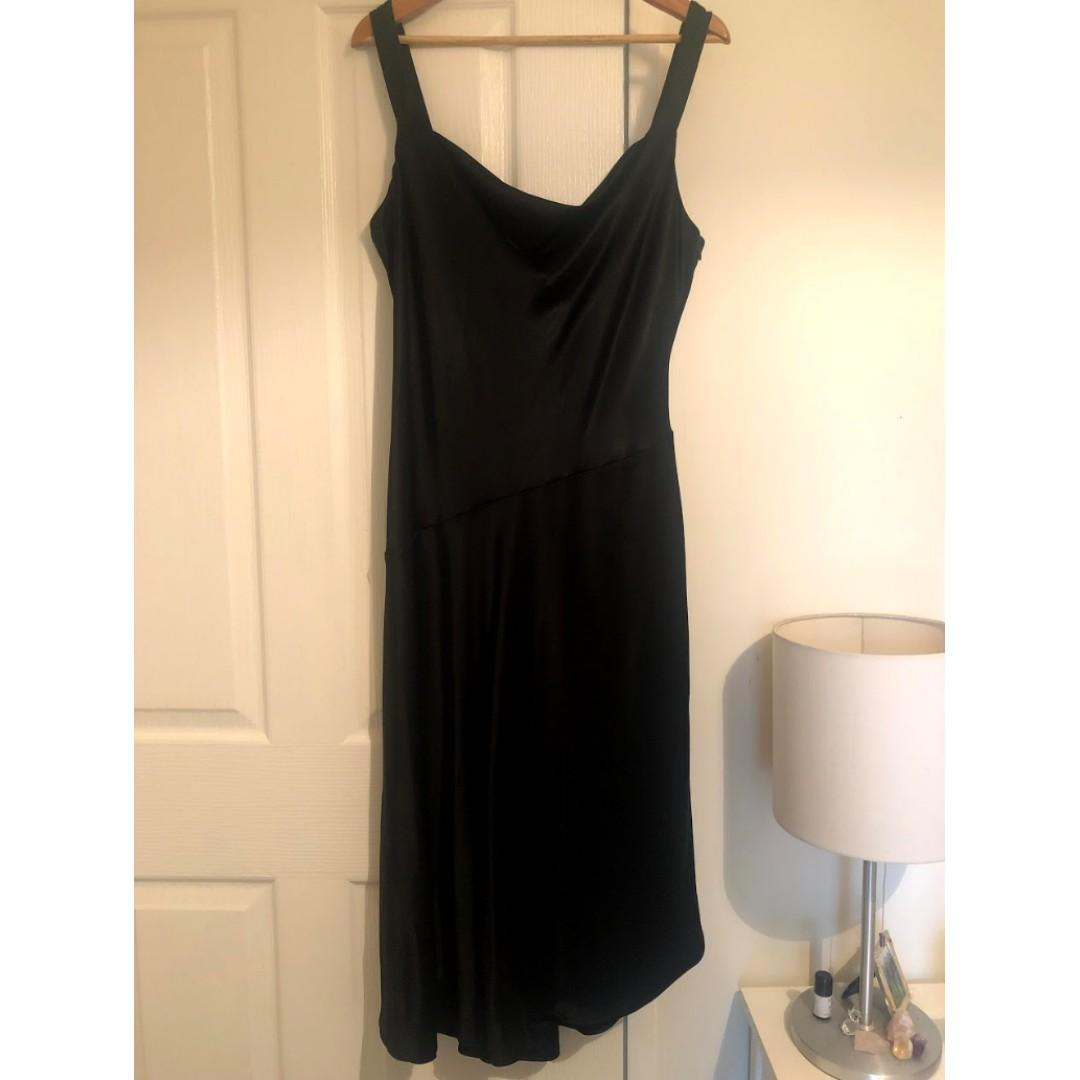 Witchery First Edition Rosita Cowl Neck Dress - Black Satin - Size 12
