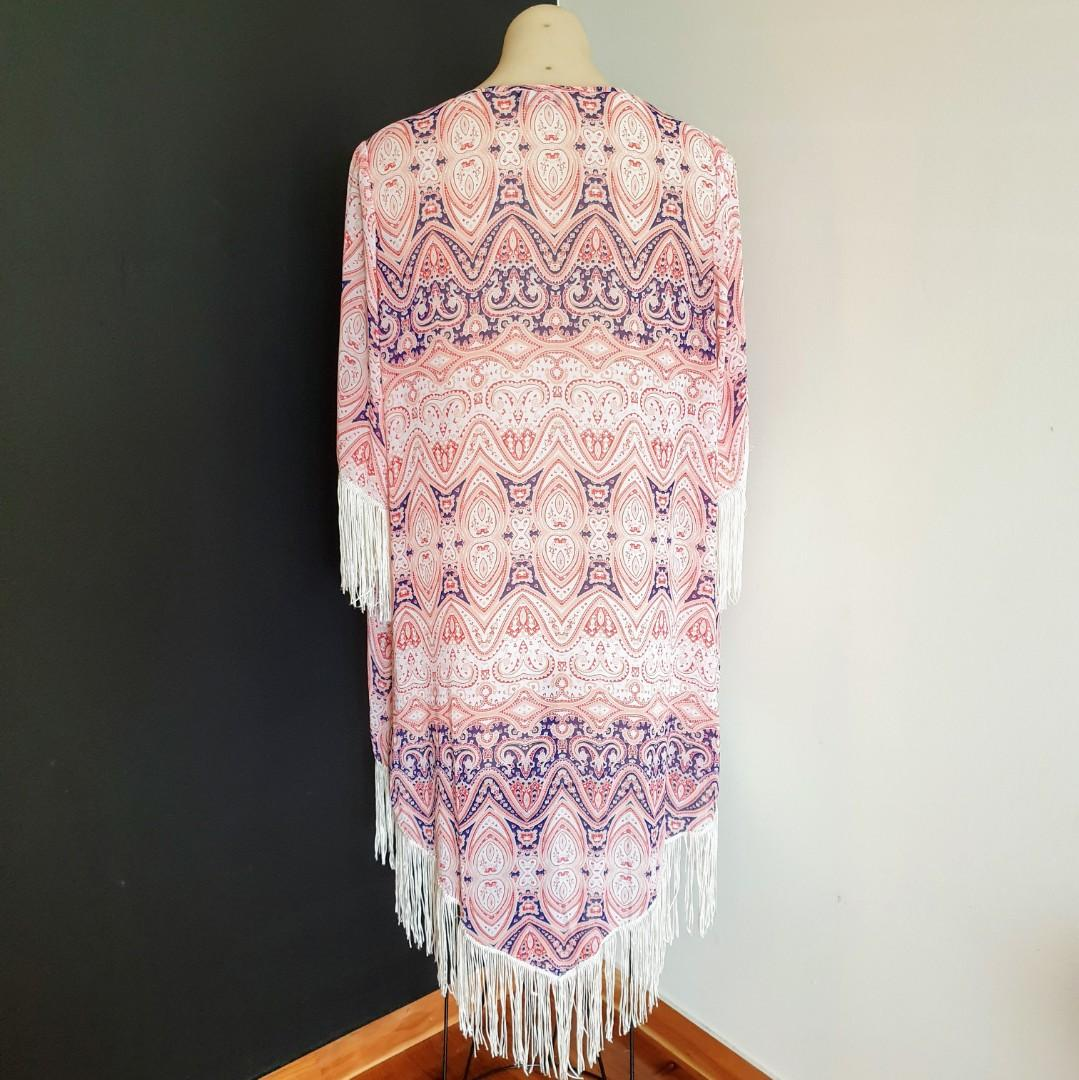 Women's size 10 'DOTTI' Gorgeous baroque kimono summer jacket with tassels - AS NEW