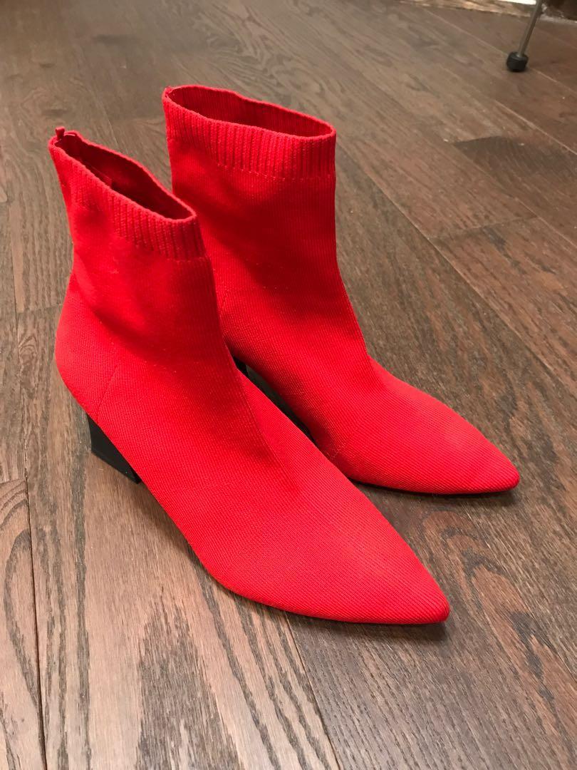 Zara red sock boots