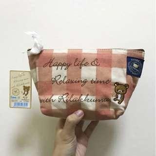 🚚 BNWT Rilakkuma Red White Checkered Canvas Pouch Bag