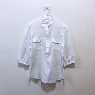 🚚 MNG SUIT Mango Basic White Pinstripe Cotton High Collar Button Shirt Mid Sleeves Top Blouse