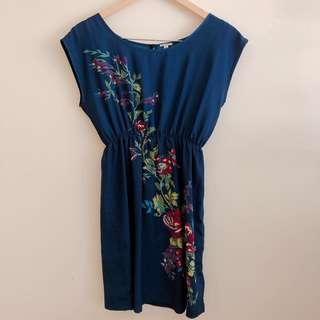 Forever 21 blue dress with floral motif #STB50