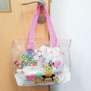 Disney Tsum Tsum Waterproof PVC Transparent Tote Bag with Inner String Bag