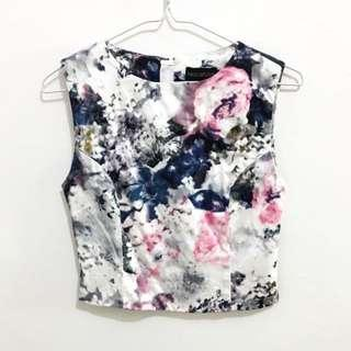 🚚 The Closet Lover Gold Back Zip Floral Galaxy Sleeveless Crop Cropped Top