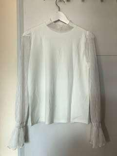 White lace sleeve long sleeve thin knit top free size