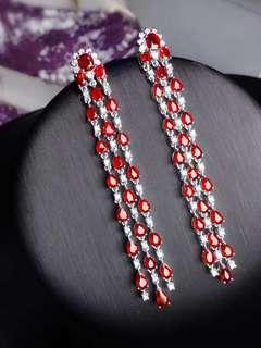 9ct -18K金天然紅寶石鑽石耳環 18K gold Natural ruby diamond earring (附證書)