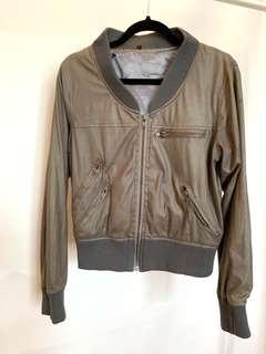 Faux Leather Jacket silver