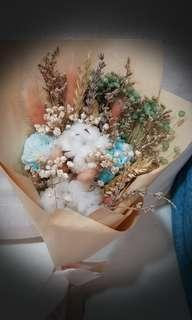 Dried flower bouquet ( blue roses)