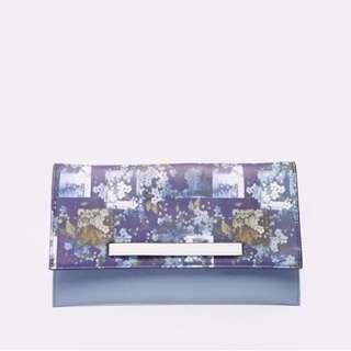 🚚 BNIP ASOS Pastel Blue Floral Print Slot Through Faux Leather Clutch Bag