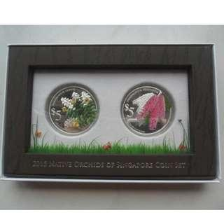 2015 Native Orchids of Singapore $5 999 fine silver Proof coin set