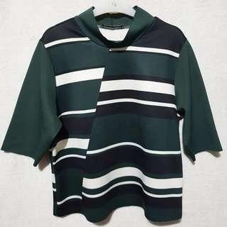 Zara mock neck stripe top