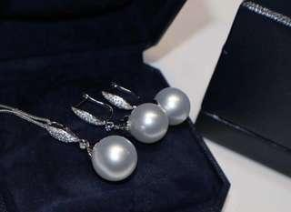 詢價 13mm 18K金南洋白色珍珠鑽石耳環吊墜 18K gold South sea white pearl dia earring & pendant (附證書)