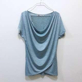 🚚 TEMT Sky Blue W/ Grey Stripe Cowl Neck Sleeve Top