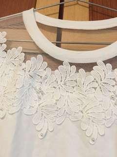 甜美韓版珠網肩上衣