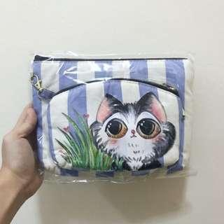 🚚 Blue and White Striped Pouch Set w/ Hand Painted Kitty Kitten Cat 🐱
