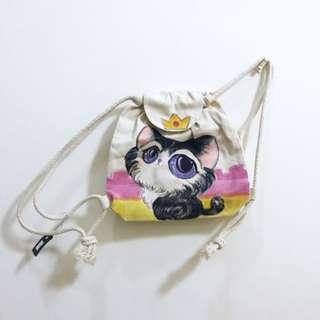 🚚 Cute Handpainted Kitten Cat With Crown Cream Canvas Backpack Bag