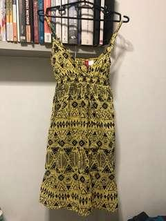 🚚 Yellow Aztec Print Summer Dress