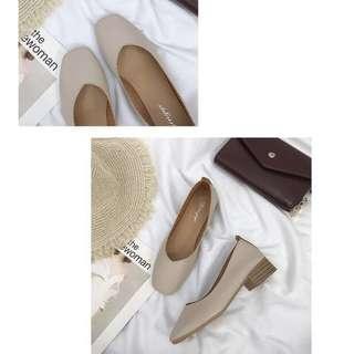 🚚 (instock) basic slip on nude coloured heels