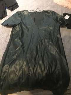 Zara dark green faux leather dress