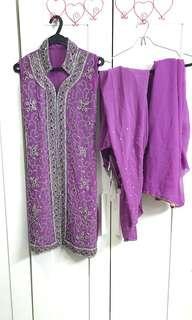 Beautiful Lavender Purple Beaded Indian Punjabi Suit Saree Sari Salwar