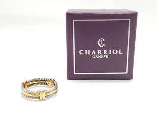 AUTHENTIC CHARRIOL 18K YELLOW GOLD AND STAINLESS STEEL CELTIC CABLE MEN'S RING - SIZE 11.5