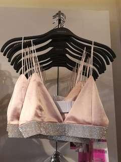 Bralet F21 Glitter Stud Nude Pink