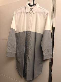 White grey kemeja dress