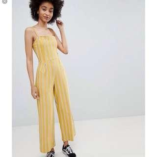 Bershka yellow stripe wide leg jumpsuit