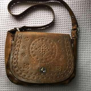 Genuine vintage tooled leather bag