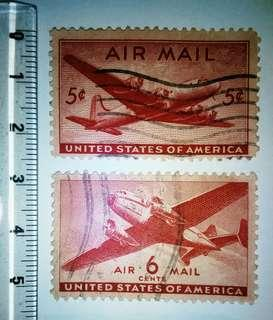 Very Rare Airplane USA Vintage Air Mail Stamps