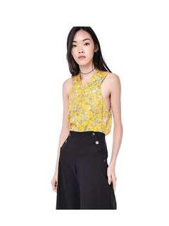 The Editor's Market Racer Floral Neck Top in Yellow
