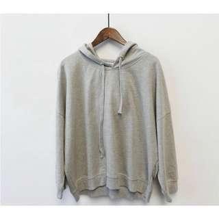 🚚 春夏款顯瘦灰色素色薄長袖大學帽T #半價衣服市集