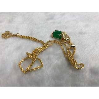 沙金貔貅項鍊(綠)
