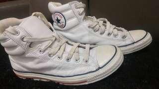 Sepatu converse ct high white leather padded collar original