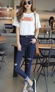 🚚 全新韓版深藍色牛仔褲深藍牛仔破褲割破牛仔褲子丹寧牛仔彈力#半價衣服市集